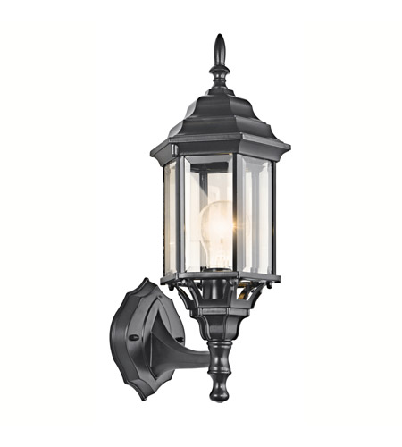 Kichler 49255BK Chesapeake 1 Light 17 inch Black Outdoor Wall Lantern in Clear Beveled Glass photo