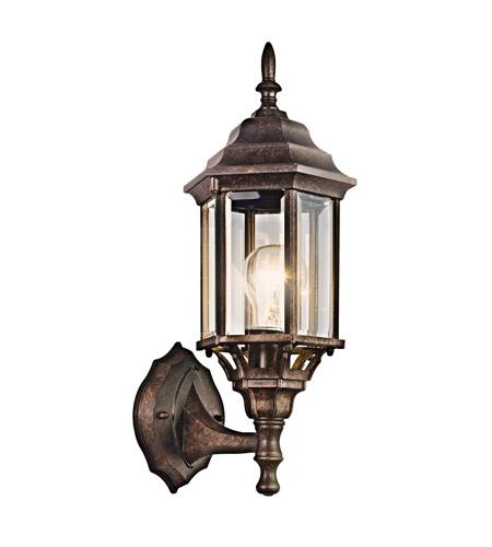 Kichler 49255tz Chesapeake 1 Light 17 Inch Tannery Bronze Outdoor Wall Lantern In Clear Beveled Gl