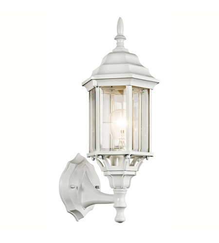 Kichler 49255WH Chesapeake 1 Light 17 inch White Outdoor Wall Lantern in Clear Beveled Glass photo