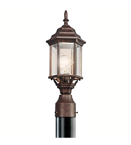 Kichler 49256TZ Chesapeake 1 Light 18 inch Tannery Bronze Outdoor Post Lantern in Clear Beveled Glass photo