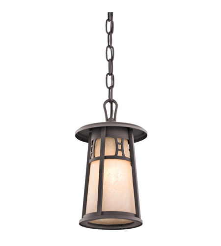 Kichler Lighting Oak Bluffs 1 Light Outdoor Pendant in Textured Architectural Bronze 49304AZT photo