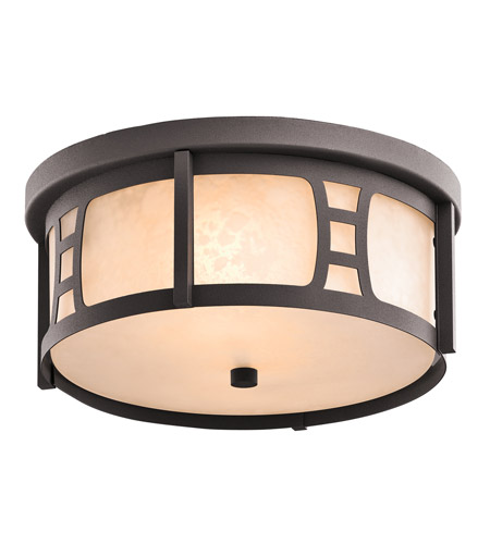 Kichler Lighting Oak Bluffs 2 Light Outdoor Flush Mount in Textured Architectural Bronze 49306AZT photo