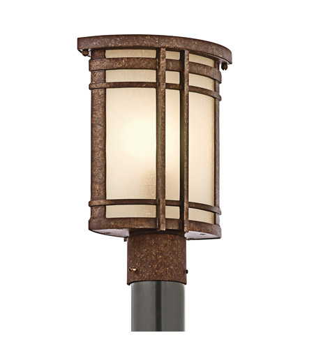 Kichler Lighting Crosett 1 Light Outdoor Post Lantern in Aged Bronze 49321AGZ photo
