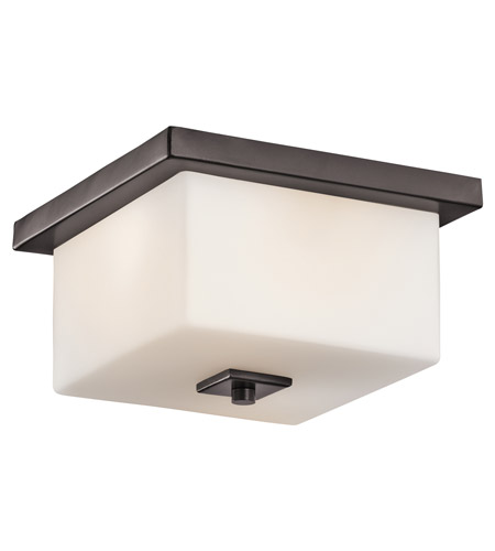 Kichler Lighting Bowen 2 Light Outdoor Flush Mount in Architectural Bronze 49343AZ