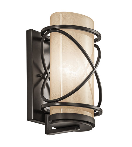 Kichler Lighting Trafari 1 Light Medium Outdoor Wall Lantern in Architectural Bronze 49357AZ photo