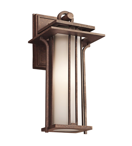 Kichler Lighting Priya 1 Light Outdoor Wall Lantern in Aged Bronze 49376AGZ photo