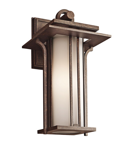 Kichler Lighting Priya 1 Light Outdoor Wall Lantern in Aged Bronze 49377AGZ photo