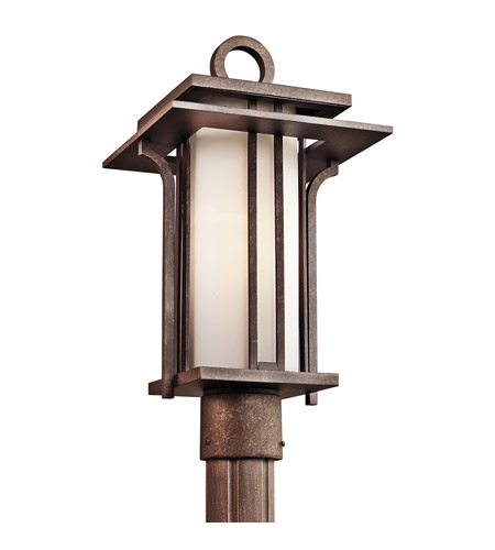 Kichler Lighting Priya 1 Light Outdoor Post Lantern in Aged Bronze 49380AGZ photo
