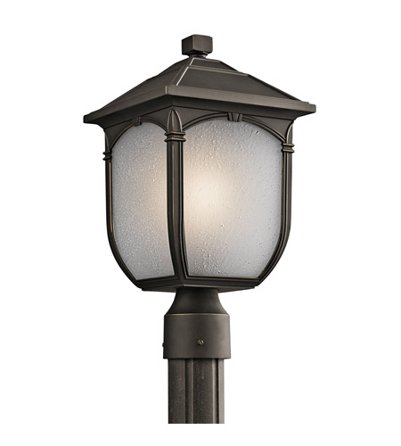 Kichler Lighting Builder Lakeway 1 Light Outdoor Post Lantern in Rubbed Bronze 49431RZ photo