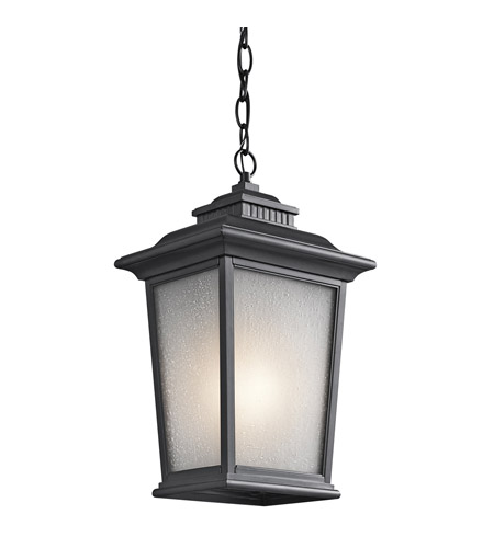 Kichler Lighting Builder Weatherly 1 Light Outdoor Pendant in Black 49441BK photo