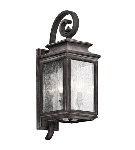 Kichler Wiscombe Park 3 Light Outdoor Wall - Medium in Weathered Zinc 49502WZC