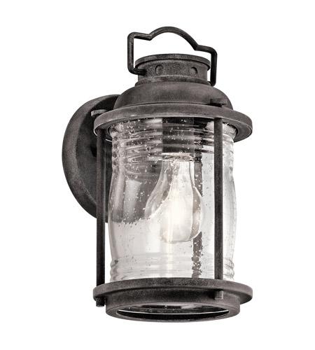 Ashland Pedestal Lantern In Weathered Zinc: Kichler 49569WZC Ashland Bay 1 Light 11 Inch Weathered
