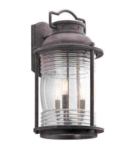 Ashland Pedestal Lantern In Weathered Zinc: Kichler 49668WZC Ashland Bay 3 Light 22 Inch Weathered