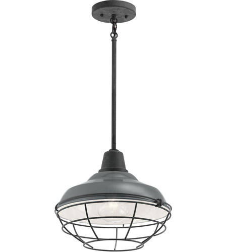 Kichler 49992GG Pier 1 Light 13 inch Gloss Grey Outdoor Flush Mount photo