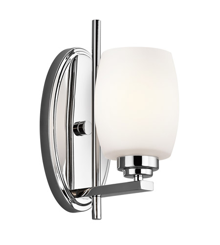 Kichler 5096CH Eileen 1 Light 5 inch Chrome Bath Vanity Wall Light in Umber Etched Glass, Standard photo