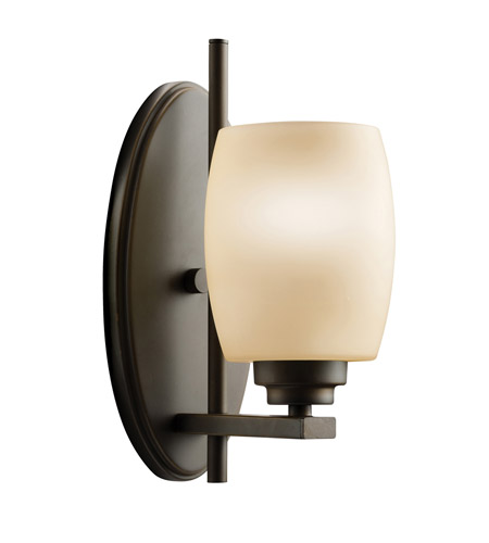 Kichler 5096OZ Eileen 1 Light 5 inch Olde Bronze Wall Sconce Wall Light in Umber Etched Glass, Standard photo
