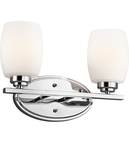 Kichler 5097CH Eileen 2 Light 14 inch Chrome Bath Vanity Wall Light in Umber Etched Glass, Standard photo
