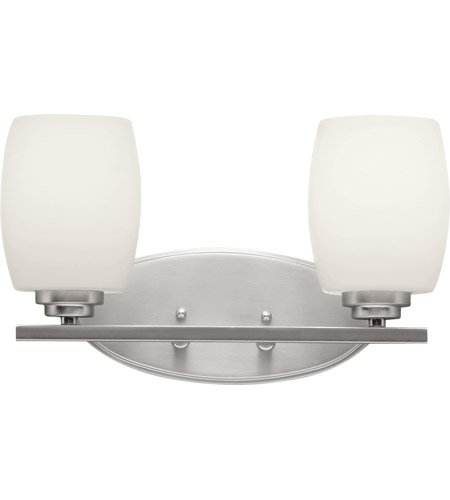 Kichler 5097NI Eileen 2 Light 14 inch Brushed Nickel Bath Vanity Wall Light in Umber Etched Glass, Standard photo