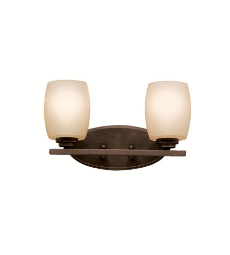Kichler 5097OZFL Eileen 2 Light 14 inch Olde Bronze Wall Mt Bath 2 Arm Wall Light in Umber Etched Glass, Standard photo