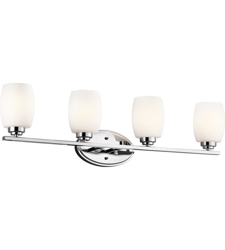 Kichler 5099CH Eileen 4 Light 34 inch Chrome Bath Vanity Wall Light in Umber Etched Glass, Standard photo