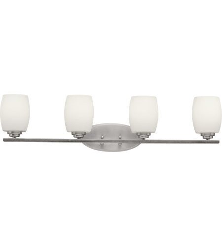 Kichler 5099NI Eileen 4 Light 34 inch Brushed Nickel Bath Vanity Wall Light in Umber Etched Glass, Standard photo