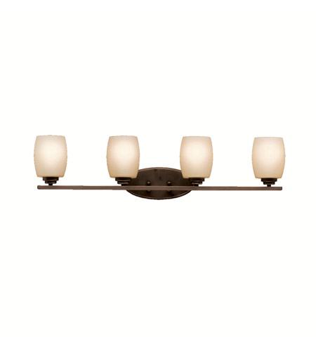 Kichler 5099OZ Eileen 4 Light 34 inch Olde Bronze Bath Vanity Wall Light in Umber Etched Glass, Standard photo