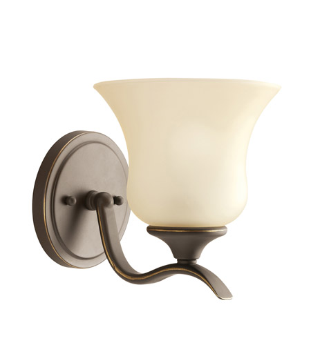 Kichler 5284OZ Wedgeport 1 Light 6 inch Olde Bronze Wall Sconce Wall Light in Umber Etched Glass photo