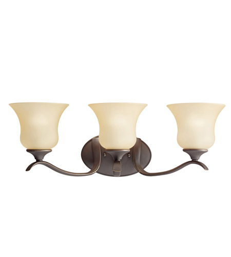 Kichler 5286OZ Wedgeport 3 Light 24 inch Olde Bronze Bath Vanity Wall Light in Umber Etched Glass photo
