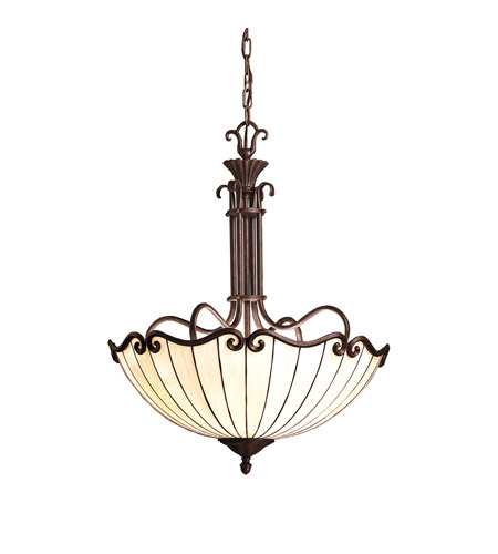 Kichler lighting clarice 3 light inverted pendant in tannery bronze w gold accent 65217 photo