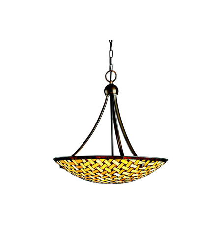 Kichler Lighting Art Glass 3 Light Inverted Pendant in Oiled Bronze 65269