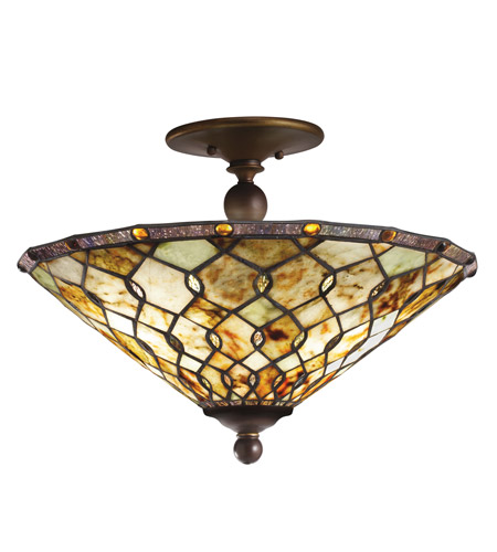 Kichler Lighting Woodbury 3 Light Semi-Flush Mount in Oiled Bronze 65372