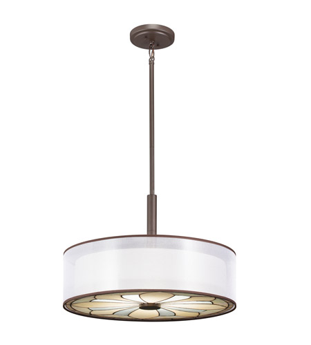 Kichler 65387 Louisa 4 Light 22 inch Olde Bronze Convertible Pendant Ceiling Light photo