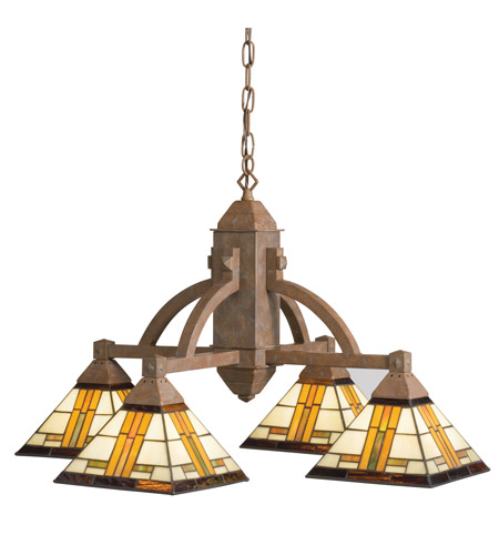 Kichler Lighting Art Glass 4 Light Chandelier in Patina Bronze 66007