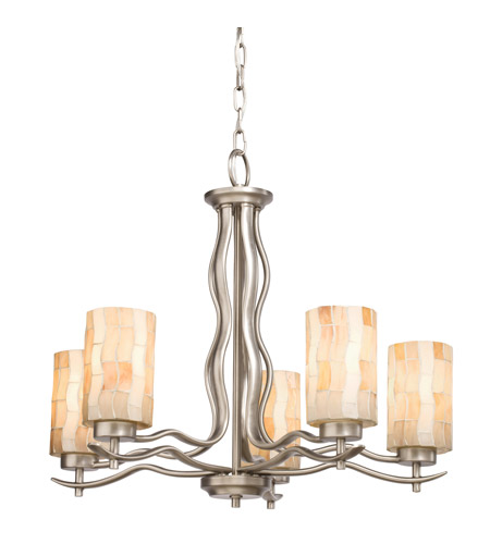 Kichler Lighting Modern Mosaic 5 Light Chandelier in Antique Pewter 66050 photo