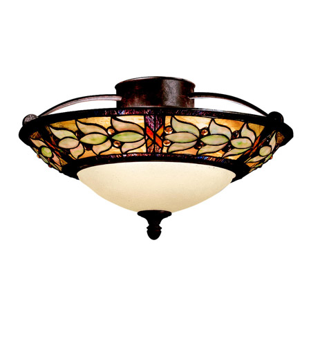 Kichler Lighting Art Glass 3 Light Semi-Flush in Tannery Bronze w/ Gold Accent 69045 photo