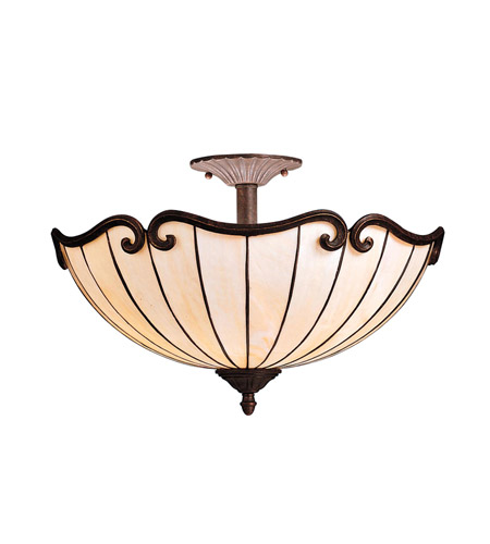 Kichler Lighting Clarice 2 Light Semi-Flush in Tannery Bronze w/ Gold Accent 69046 photo