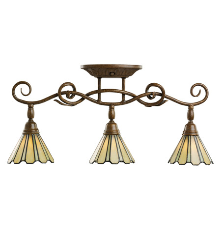 Kichler Lighting Fixed Rail 3 Light Rail Light in Tannery Bronze w/ Gold Accent 7702TZG