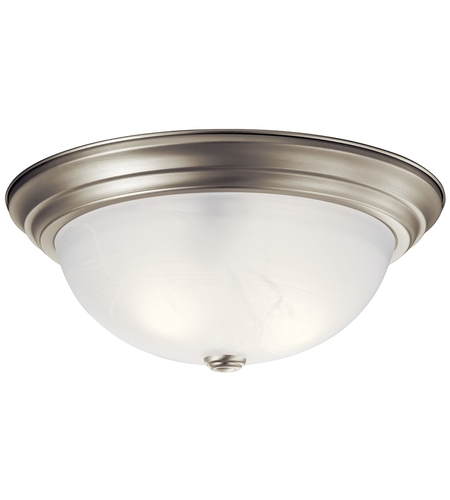Kichler 8110NI Signature 3 Light 15 Inch Brushed Nickel Flush Mount Ceiling  Light