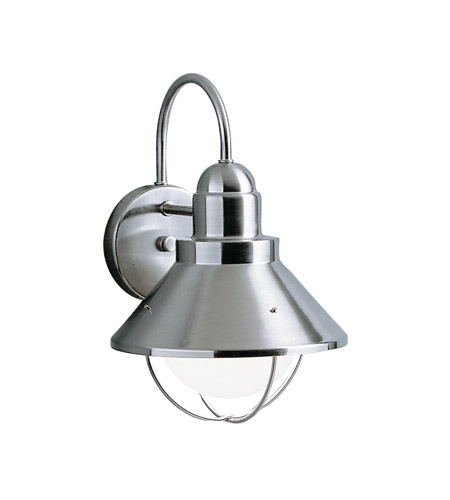 Kichler Lighting Seaside 1 Light Outdoor Wall Lantern in Brushed Nickel 9022NI photo
