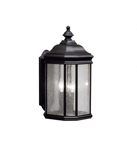 Kichler Lighting Kirkwood 3 Light Outdoor Wall Lantern in Black (Painted) 9030BK