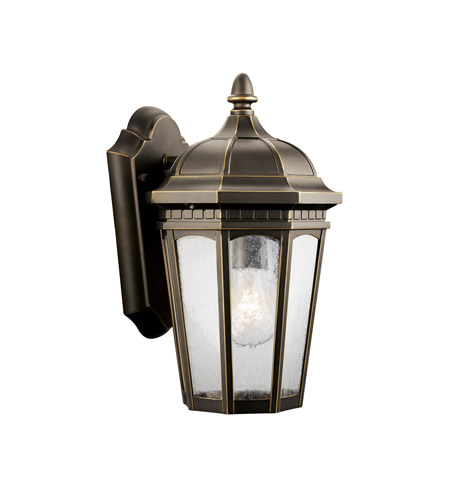 Kichler Lighting Courtyard 1 Light Outdoor Wall Lantern in Rubbed Bronze 9032RZ