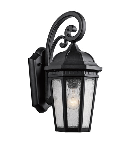 Kichler 9033BKT Courtyard 1 Light 18 inch Textured Black Outdoor Wall Lantern photo