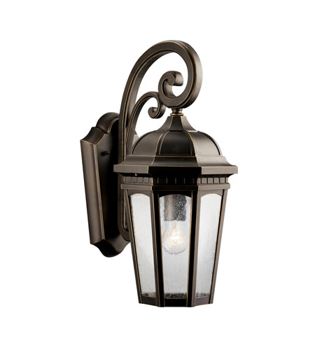 Kichler 9033RZ Courtyard 1 Light 18 inch Rubbed Bronze Outdoor Wall Lantern photo