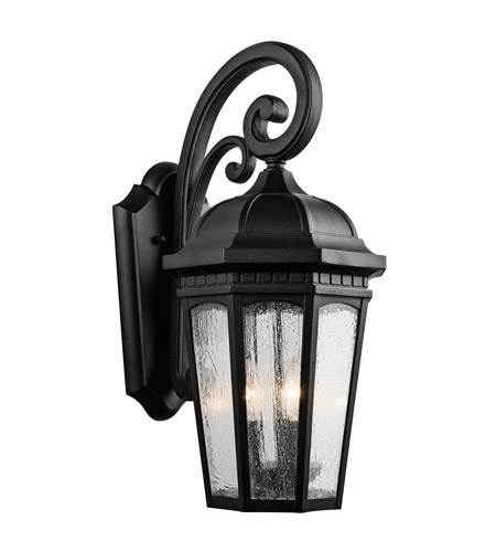 Kichler 9034BKT Courtyard 3 Light 22 inch Textured Black Outdoor Wall Lantern photo
