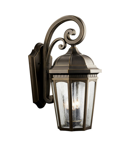 Kichler Lighting Courtyard 3 Light Outdoor Wall Lantern in Rubbed Bronze 9034RZ