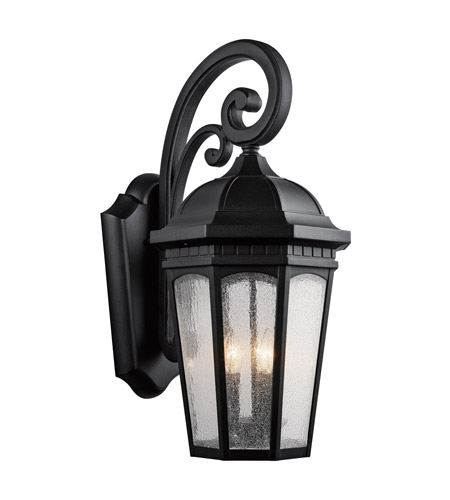 Kichler 9035BKT Courtyard 3 Light 27 inch Textured Black Outdoor Wall Lantern photo