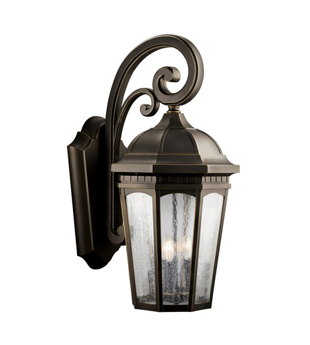 Kichler Lighting Courtyard 3 Light Outdoor Wall Lantern in Rubbed Bronze 9035RZ