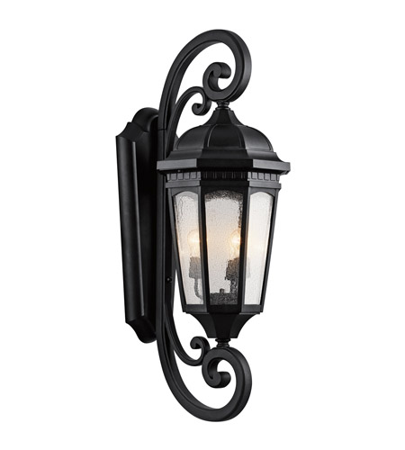 Kichler Lighting Courtyard 3 Light XLarge Outdoor Wall Lantern in Textured Black 9060BKT photo