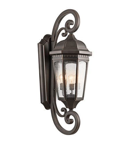 Kichler Lighting Courtyard 3 Light XLarge Outdoor Wall Lantern in Rubbed Bronze 9060RZ