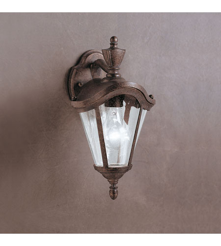 Kichler lighting lafayette outdoor wall 1lt in tannery bronze w gold accent 9183tzg